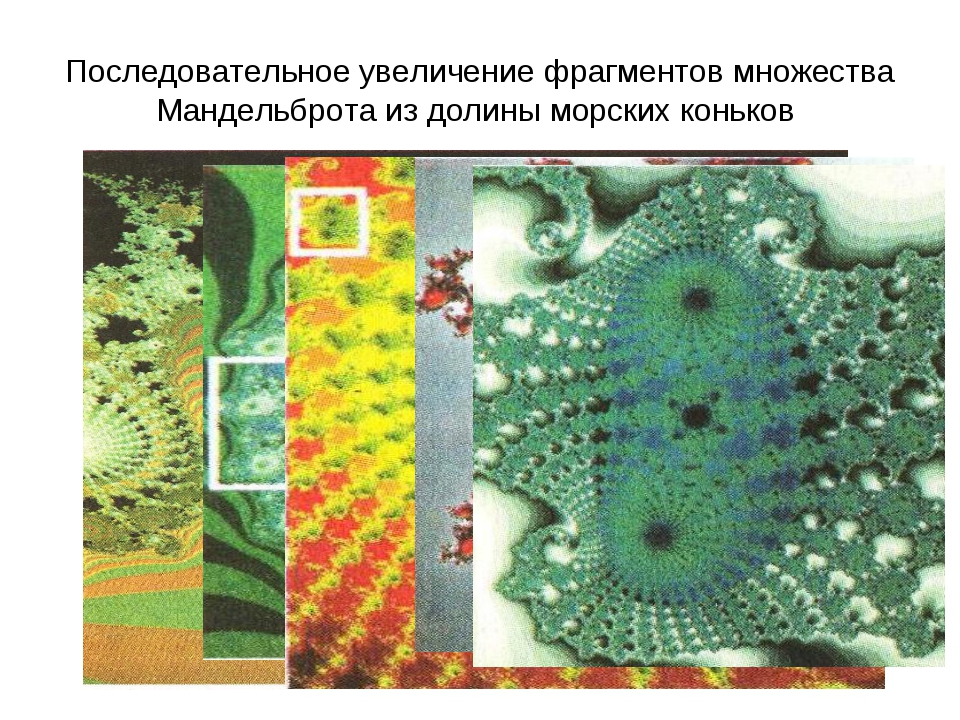 Последовательное увеличение фрагментов множества Мандельброта из долины морск...