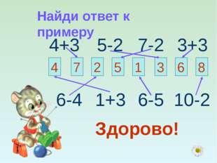 Найди ответ к примеру 4+3 5-2 7-2 3+3 4 7 2 5 1 3 6 8 6-4 1+3 6-5 10-2 Здорово!