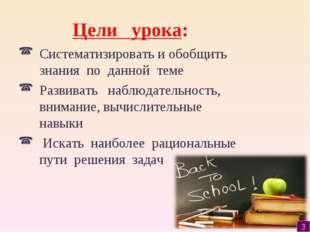 Цели урока: Систематизировать и обобщить знания по данной теме Развивать набл