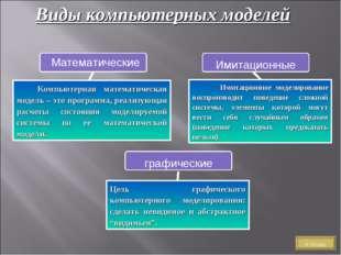 Виды компьютерных моделей Цель графического компьютерного моделирования: сдел