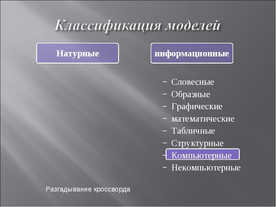 Словесные Образные Графические математические Табличные Структурные Компьютер...