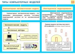  ТИПЫ КОМПЬЮТЕРНЫХ МОДЕЛЕЙ Компьютерная математическая модель Имитационное м