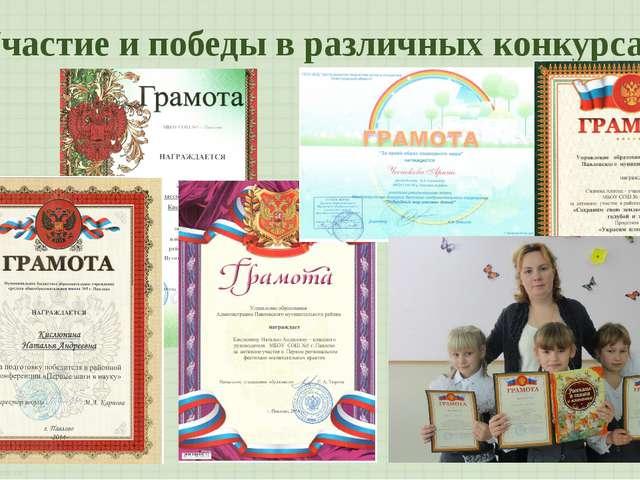 Участие и победы в различных конкурсах