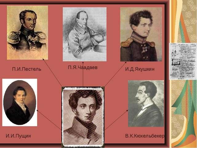 И.И.Пущин П.И.Пестель П.Я.Чаадаев И.Д.Якушкин В.К.Кюхельбекер