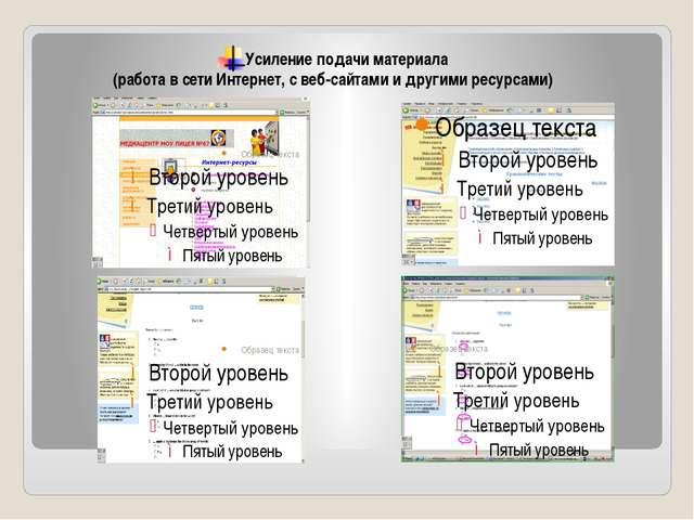 Усиление подачи материала (работа в сети Интернет, с веб-сайтами и другими ре...