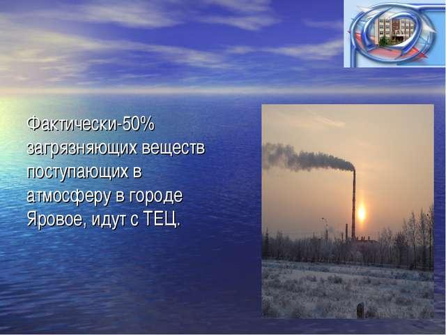 Фактически-50% загрязняющих веществ поступающих в атмосферу в городе Яровое,...