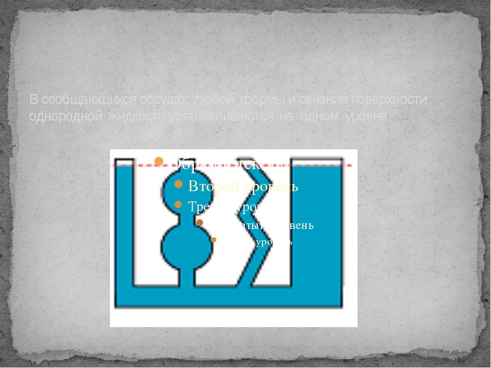 . В сообщающихся сосудах любой формы и сечения поверхности однородной жидкос...