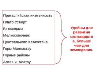 Прикаспийская низменность Плато Устюрт Бетпакдала Мелкосопочник Центрального