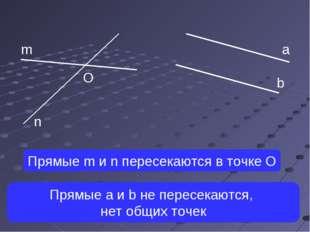 а b m n O Прямые m и n пересекаются в точке О Прямые a и b не пересекаются, н