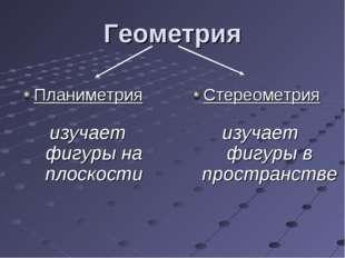Геометрия Планиметрия Стереометрия изучает фигуры на плоскости изучает фигуры