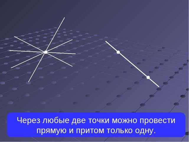 Через любые две точки можно провести прямую и притом только одну.