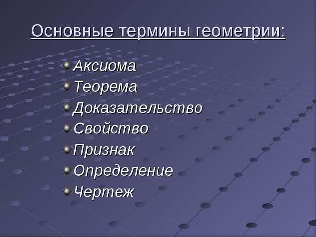 Основные термины геометрии: Аксиома Теорема Доказательство Свойство Признак О...