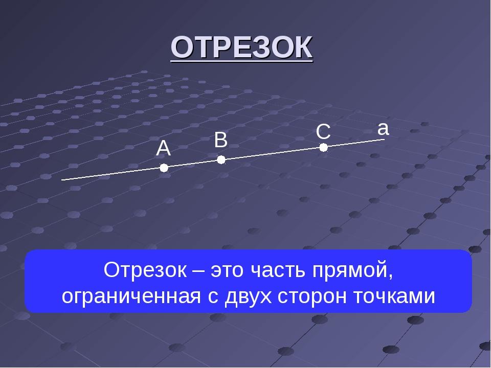а А В С Отрезок – это часть прямой, ограниченная с двух сторон точками ОТРЕЗОК