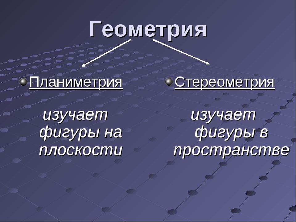 Геометрия Планиметрия Стереометрия изучает фигуры на плоскости изучает фигуры...