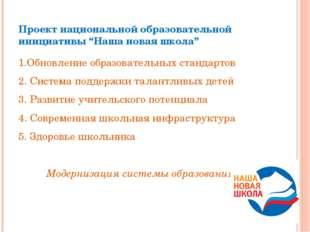 """Проект национальной образовательной инициативы """"Наша новая школа"""" 1.Обновлени"""