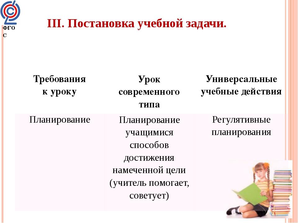 ФГОС III. Постановка учебной задачи. Требования к уроку Урок современного тип...
