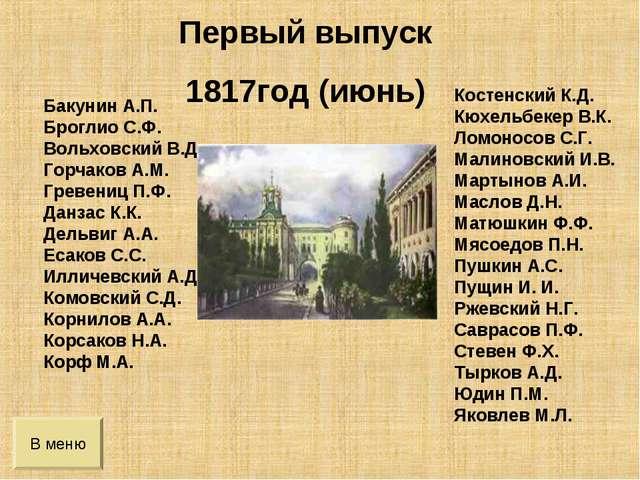 В меню Бакунин А.П. Броглио С.Ф. Вольховский В.Д. Горчаков А.М. Гревениц П.Ф....