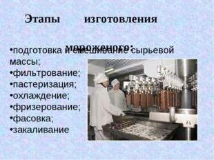 подготовка и смешивание сырьевой массы; фильтрование; пастеризация; охлажден