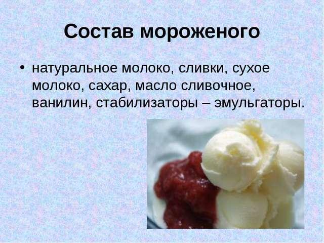 Состав мороженого натуральное молоко, сливки, сухое молоко, сахар, масло слив...