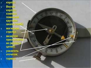 корпус; Внутри корпуса компаса помещена круговая шкала (лимб); магнитная стре
