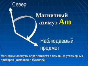 Магнитный азимут Am Магнитные азимуты определяются с помощью угломерных прибо