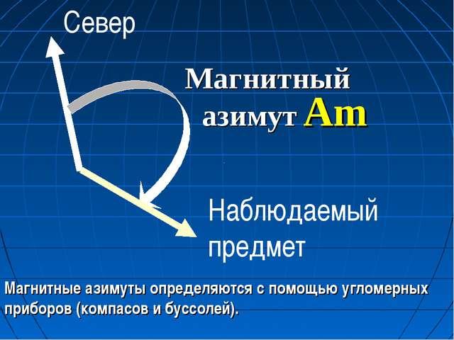 Магнитный азимут Am Магнитные азимуты определяются с помощью угломерных прибо...