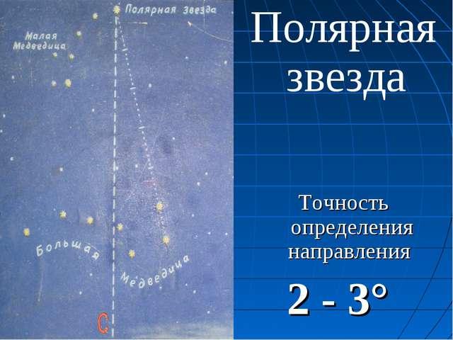 Полярная звезда Точность определения направления 2 - 3°