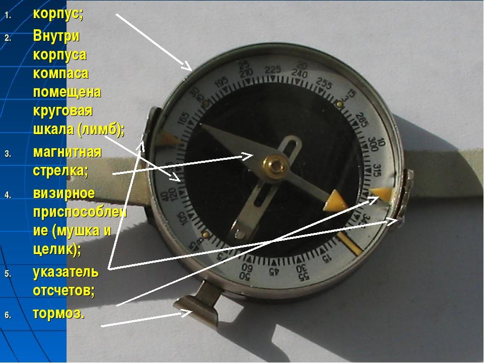 корпус; Внутри корпуса компаса помещена круговая шкала (лимб); магнитная стре...