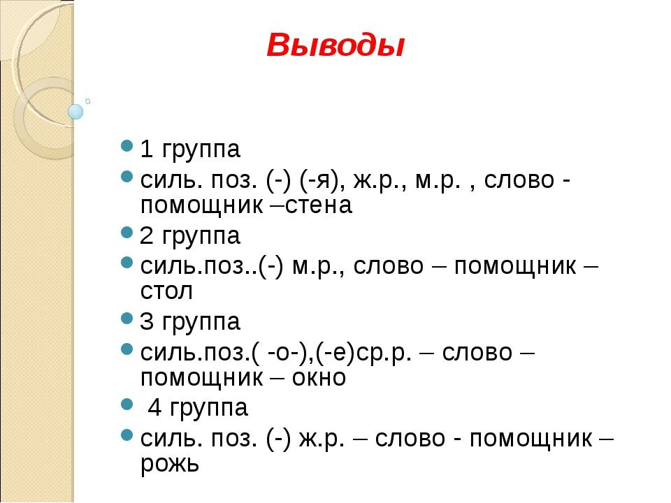 Выводы 1 группа силь. поз. (-) (-я), ж.р., м.р. , слово - помощник –стена 2...