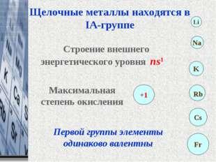 Щелочные металлы находятся в IA-группе Максимальная степень окисления +1 Стро