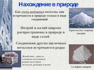 Нахождение в природе Натрий и калий широко распространены в природе в виде с