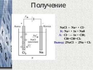 Получение NaCl ↔ Na+ + Cl− K: Na+ + 1e = Na0 A: Cl−— 1e = Cl0; Cl0+Cl0=Cl2 В