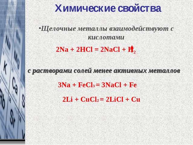 2Na + 2HCl = 2NaCl + H2 с растворами солей менее активных металлов Химические...