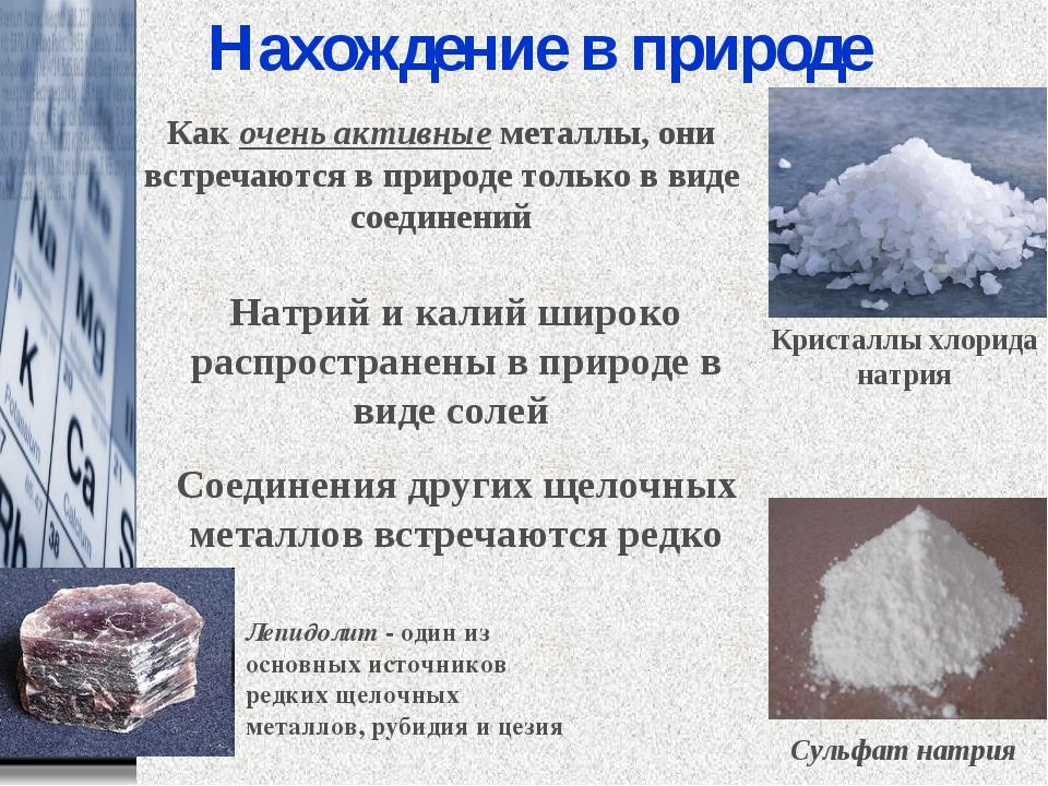 Нахождение в природе Натрий и калий широко распространены в природе в виде с...