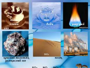 AI2O3  H2O CO глина вода угарный газ Fe2O3 SiO2 CO2 красный железн