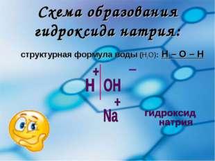 Схема образования гидроксида натрия: структурная формула воды (Н2О): Н – О – Н