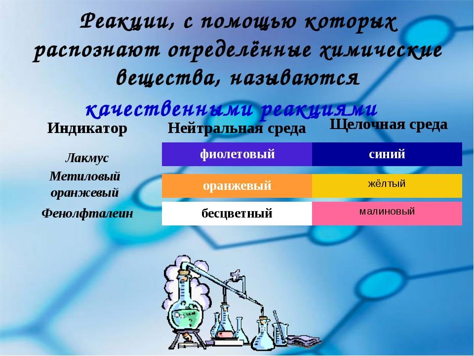 Реакции, с помощью которых распознают определённые химические вещества, назыв...