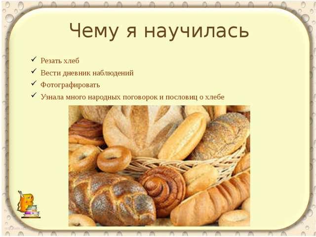 Чему я научилась Резать хлеб Вести дневник наблюдений Фотографировать Узнала...