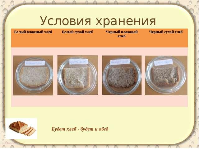 Условия хранения Будет хлеб - будет и обед Белый влажныйхлеб Белый сухой хле...