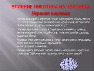 Никотин в первой короткой фазе расширяет сосуды мозга (создает обманчивое впе