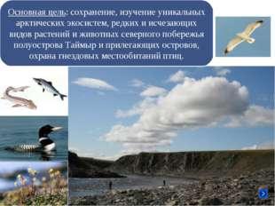 Основная цель: сохранение, изучение уникальных арктических экосистем, редких
