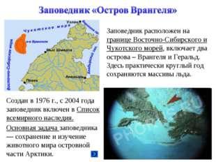 Заповедник расположен на границе Восточно-Сибирского и Чукотского морей, вклю