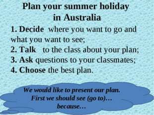 Plan your summer holiday in Australia 1. Decide where you want to go and what