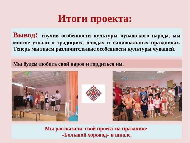 Итоги проекта: Вывод: изучив особенности культуры чувашского народа, мы много...