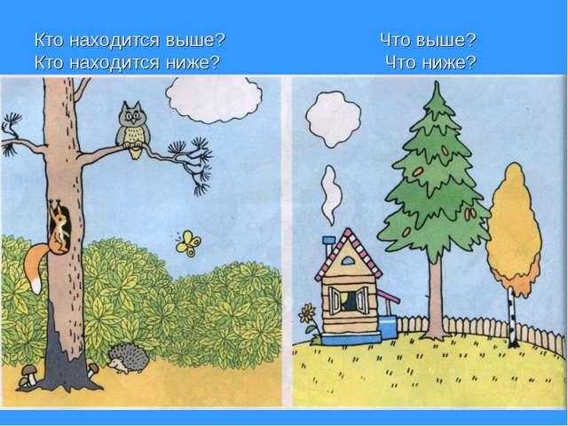 Кто находится выше? Что выше? Кто находится ниже? Что ниже?