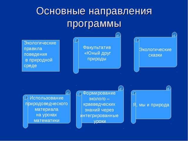 Основные направления программы Экологические правила поведения в природной ср...