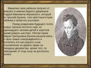 Фамилию свою ребенок получил от жившего в имении бедного дворянина Андрея Ив