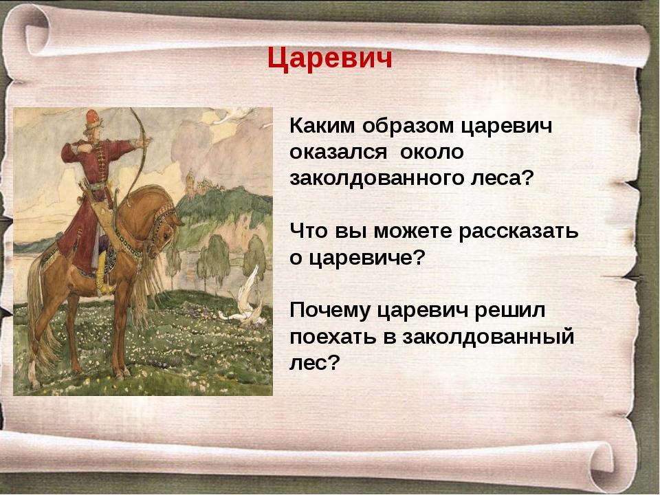 Царевич Каким образом царевич оказался около заколдованного леса? Что вы може...