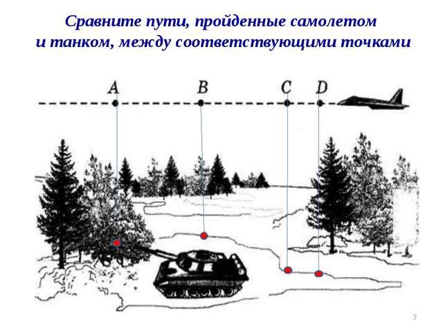 * Сравните пути, пройденные самолетом и танком, между соответствующими точками