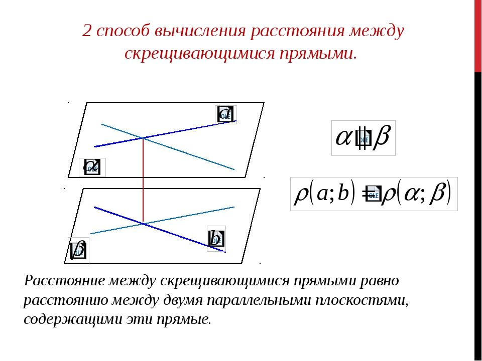 2 способ вычисления расстояния между скрещивающимися прямыми. Расстояние меж...
